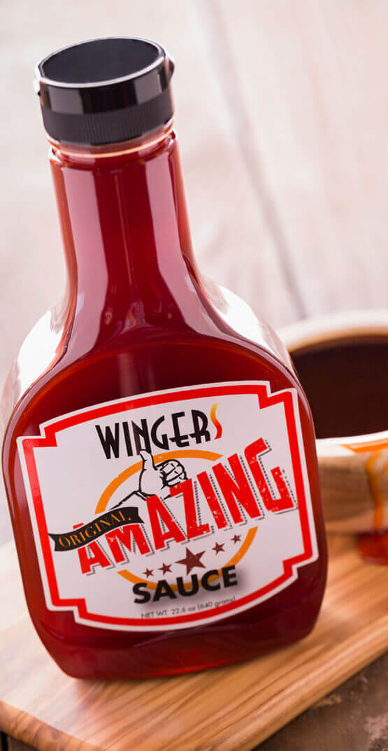 Our WINGERS Original Amazing Sauce is a unique combination of spicy and sweet that make you swear you've gone to heaven.